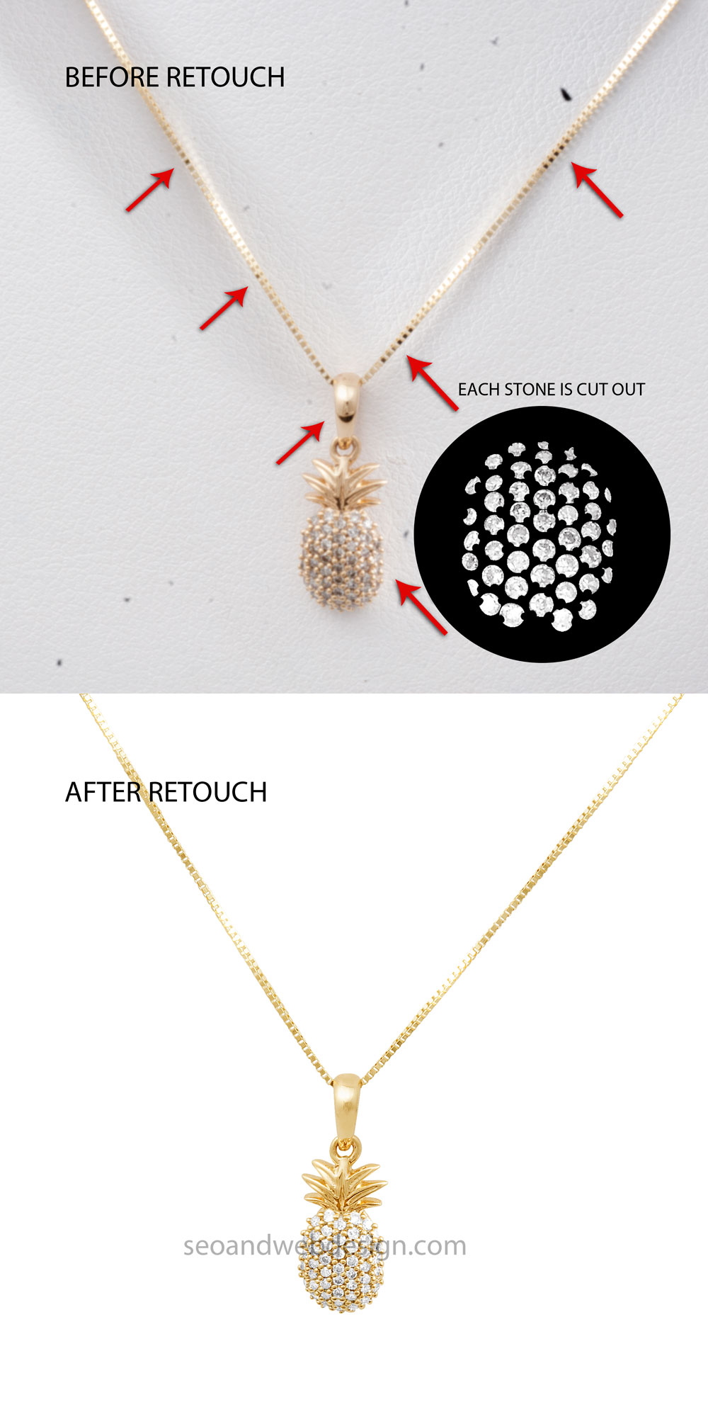 before after diamond necklace
