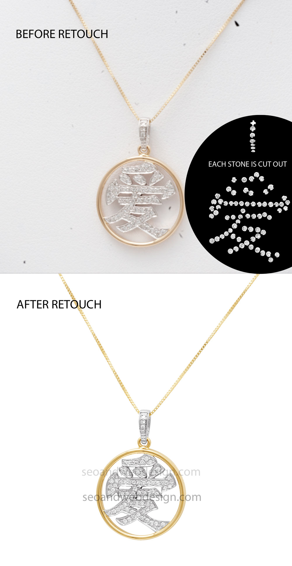 before after cutout jewelry